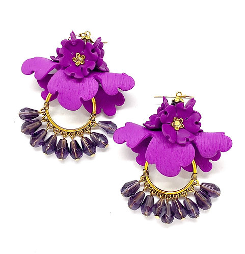 Statement Big Folded Flower Hoop Earrings with Beads
