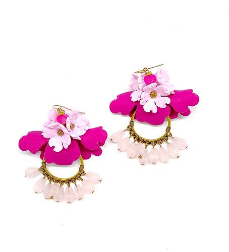 Pink, Fuschia and Gold Statement Flower Hoop Earrings