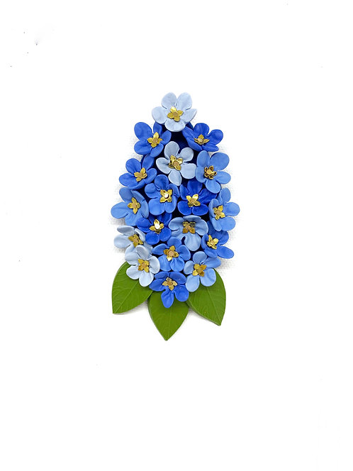 Blue Small Flowers Brooch with Gold Elements