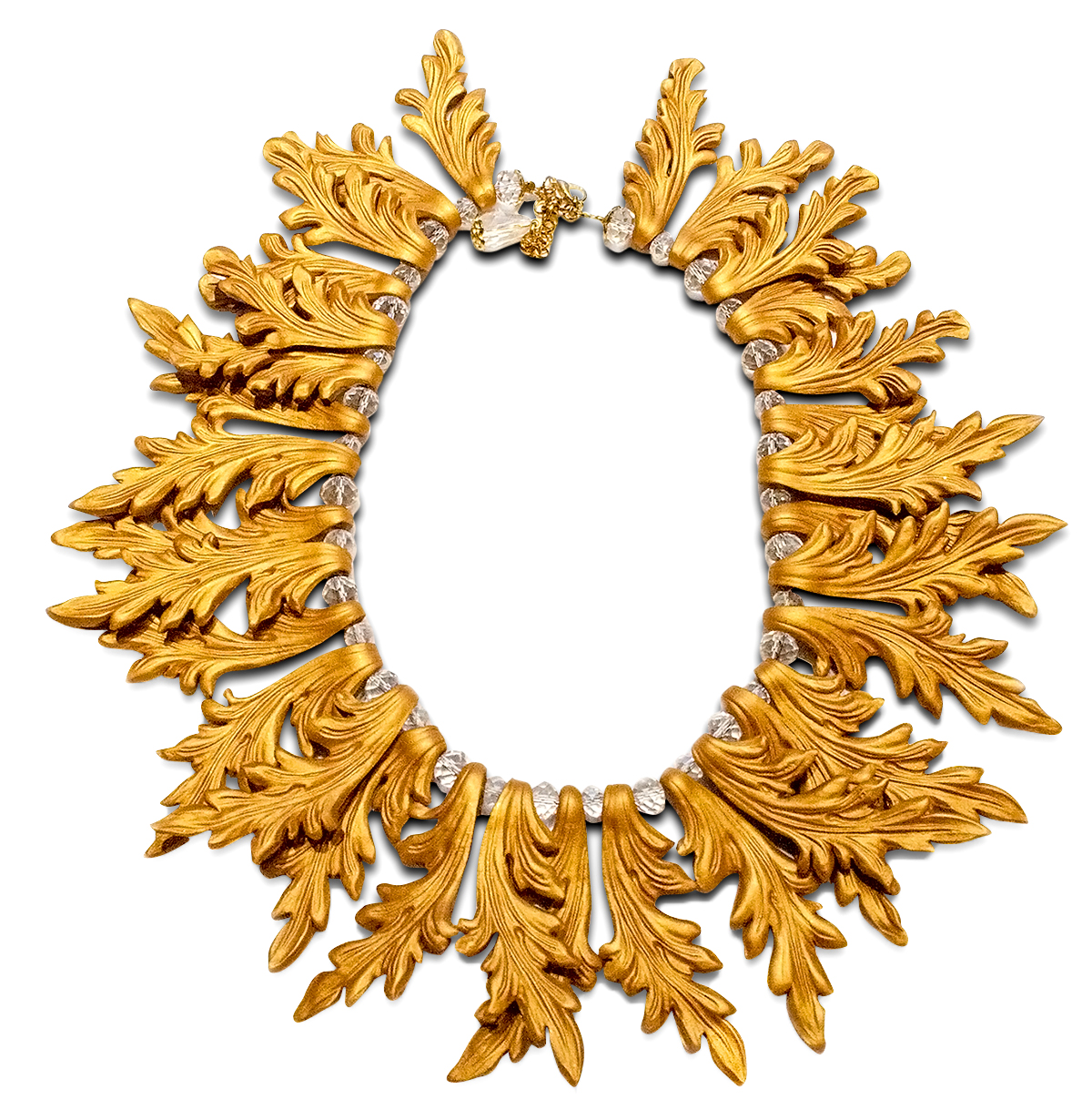 Golden frame statement necklace