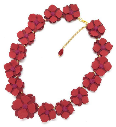 Red Flower Collar Necklace