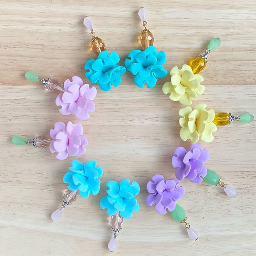 Colorful Flower Earrings with Glass beads - Pastels