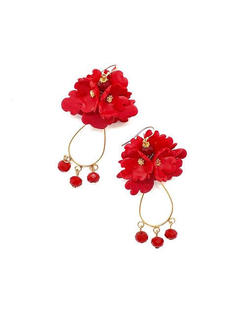 Folded Flower and Teardrop Earrings