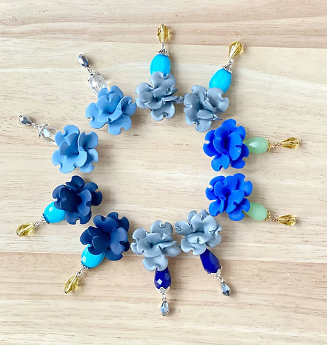 Colorful Flower Statement Earrings with Glass Beads