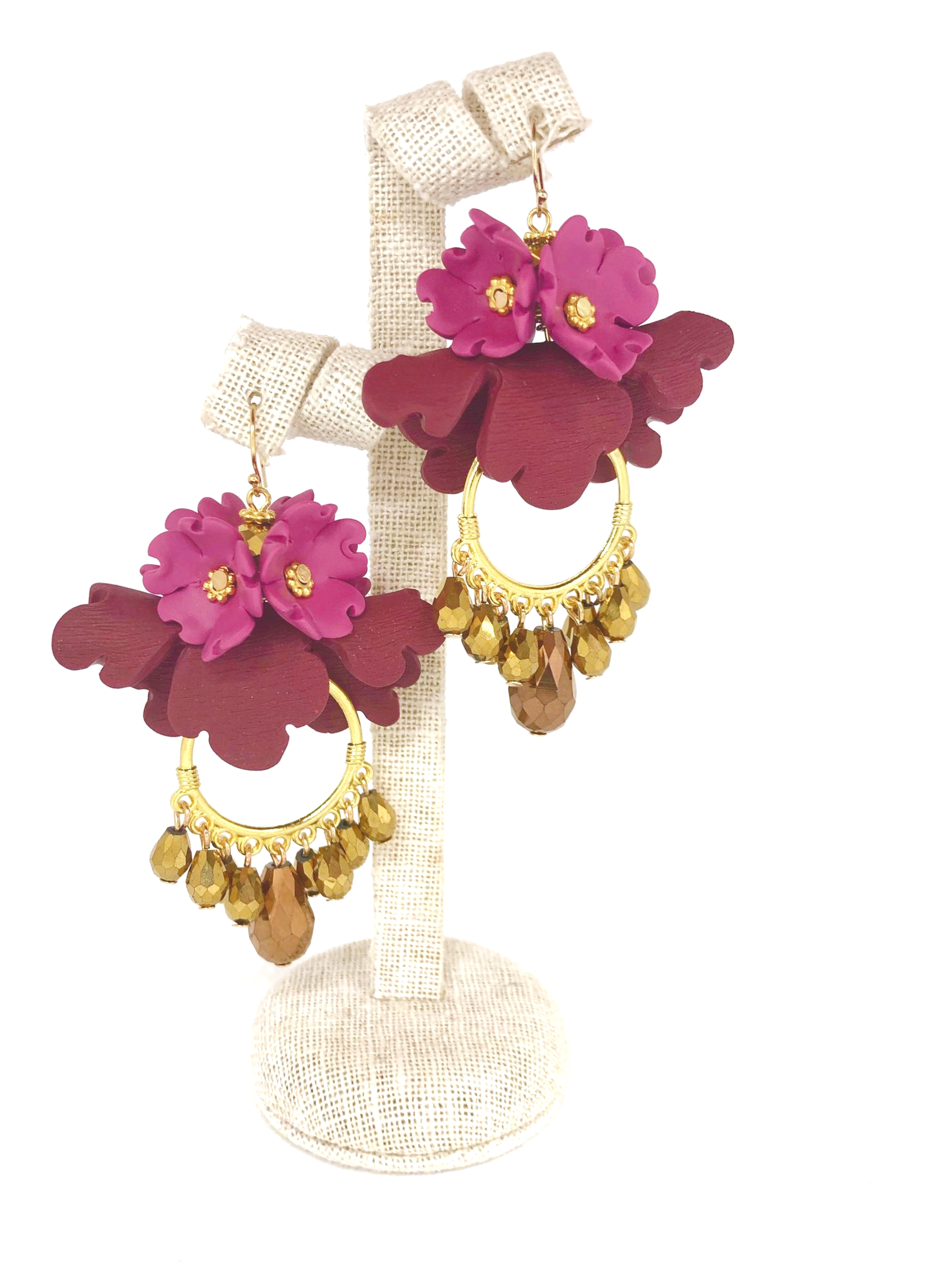 Big folded flowers earrings, beaded