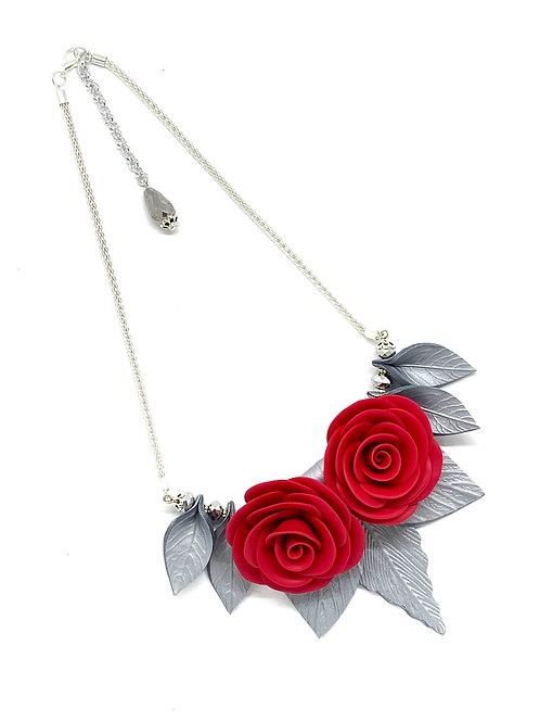 Silver Leaves and Red Roses Necklace on a Mesh Chain