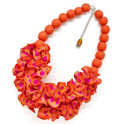 Double Ruffle necklace in red orange and