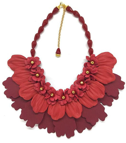 Deep Red and Burgundy Flower Necklace