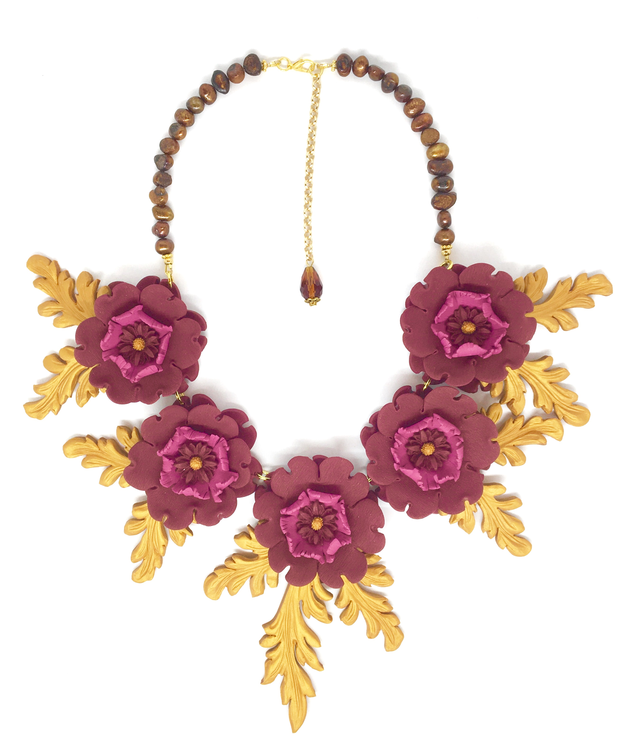 Flowers and flame accents necklace