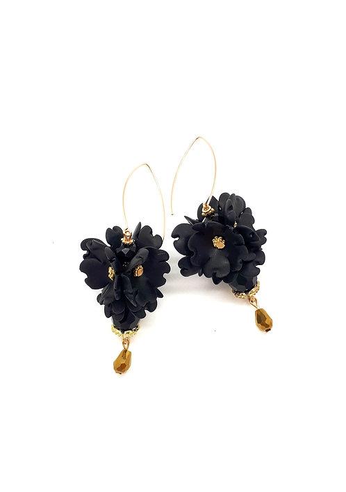 Long hoop flower earrings