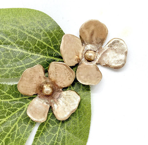 Mini Rustic Small Flower Earrings in Bronze