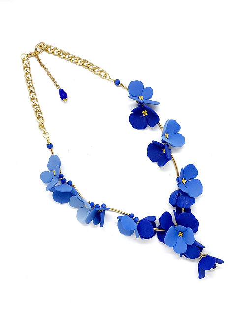 Hydrangeas inspired Long, Delicate, Statement Necklace, Gold Hardware