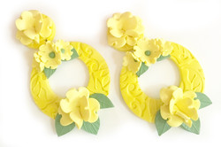 Round statement earrings in yellow
