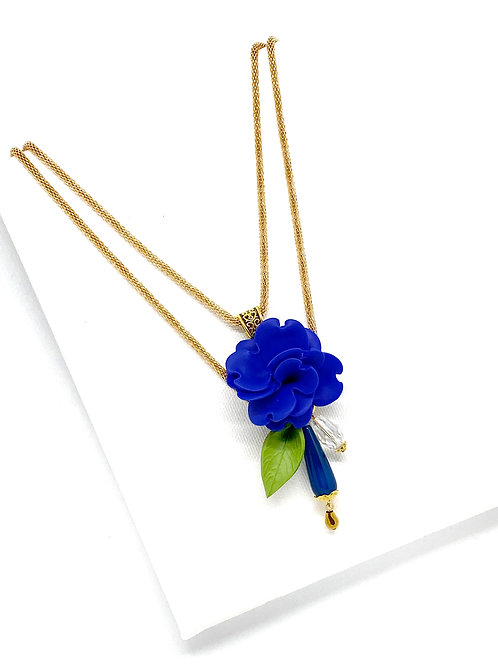 Long Flower Necklace in Cobalt Blue on Gold Mesh Chain