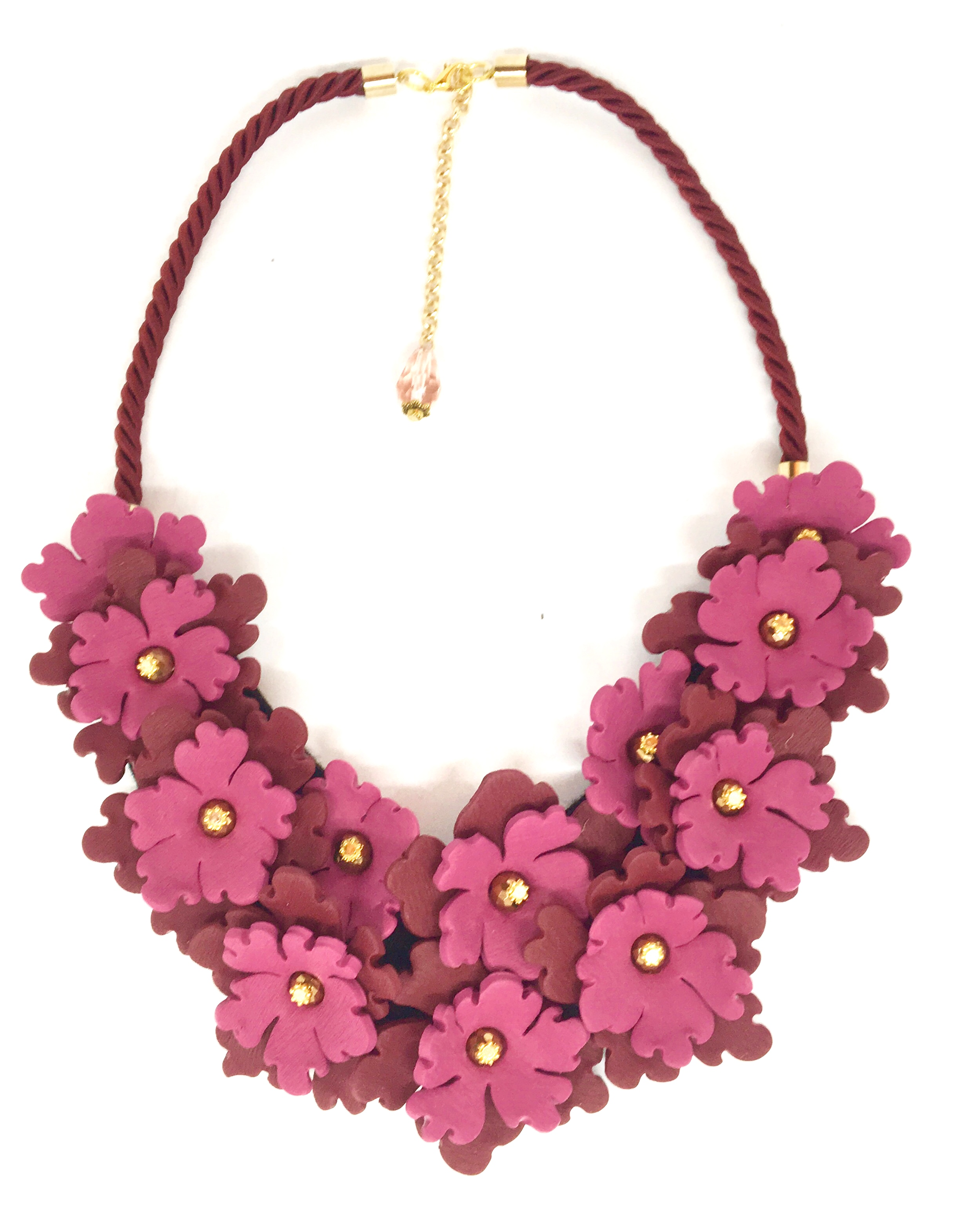 Statement necklace burgundy flowers