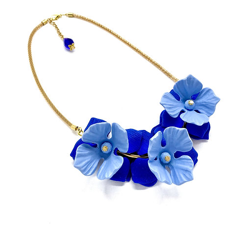 Cobalt and Light Blue Small Statement Necklace