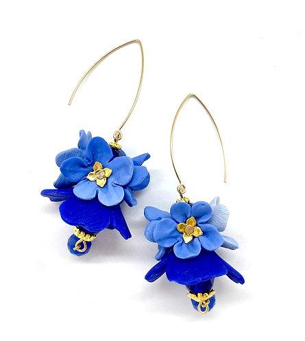 Shades of Blue Small Flowers Earrings on Long Hoop