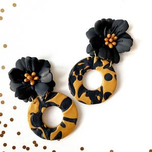 Black and Gold Petunia Earrings