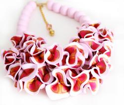 Light pink ruffle necklace