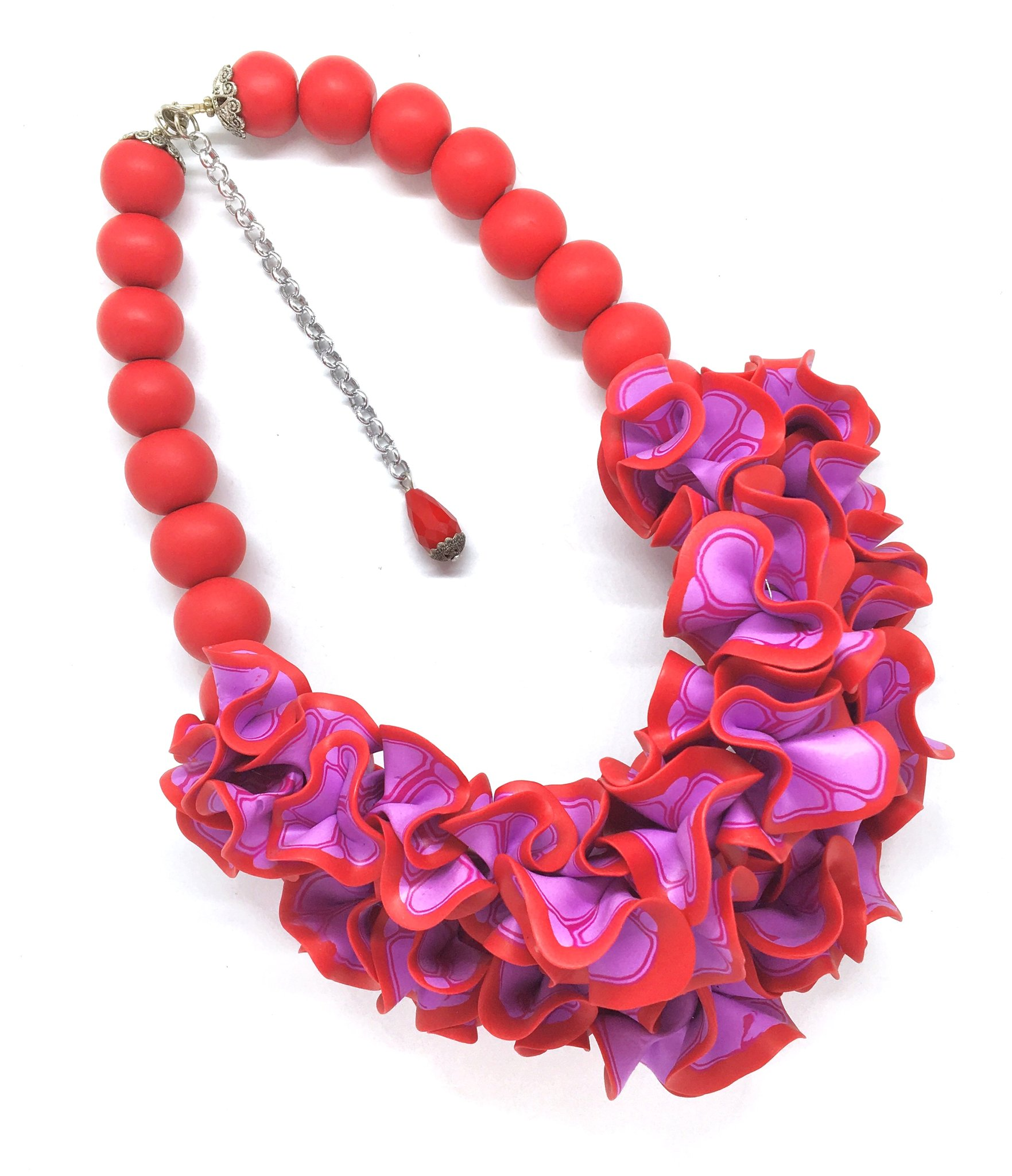 Red and pink ruffle necklace
