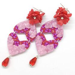 Red, double heart-shaped earrings