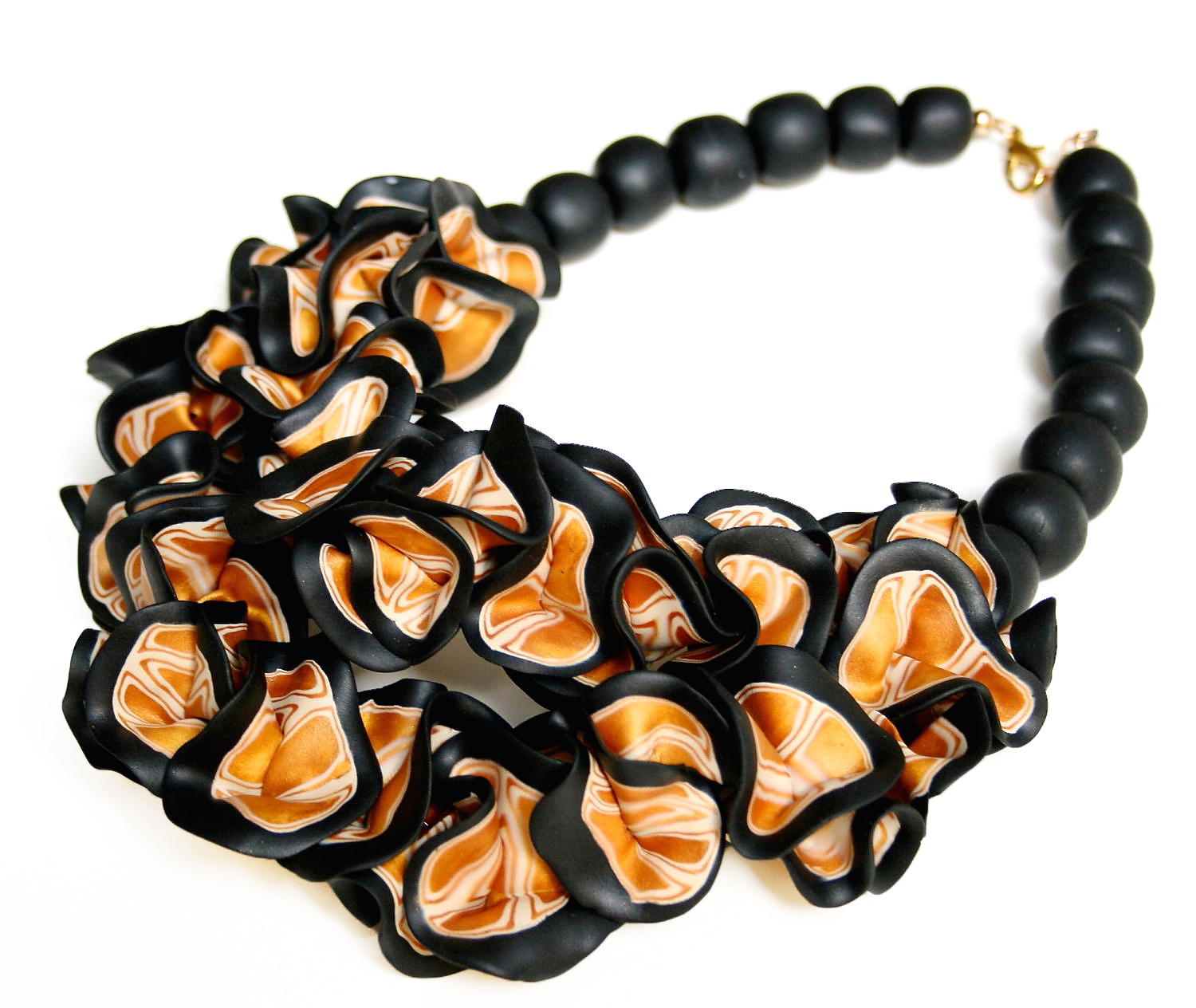 Black and gold ruffle necklace