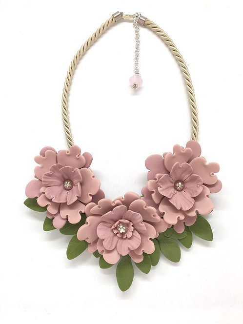 Pink and Green Flower Statement Necklace