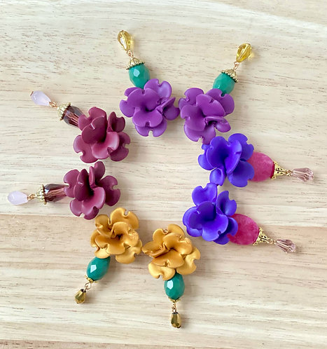 Colorful Flower Earrings withGlass beads