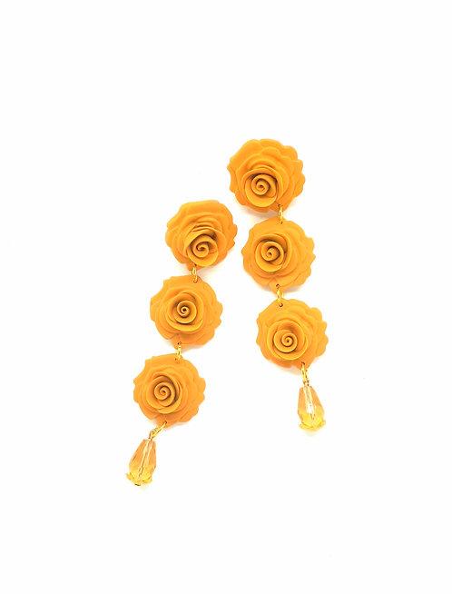Three Roses Beaded Mustard Yellow Drop Earrings