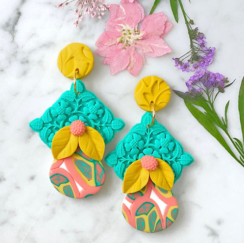 La Dolce Vita Flowers and Fruit Statement Earrings