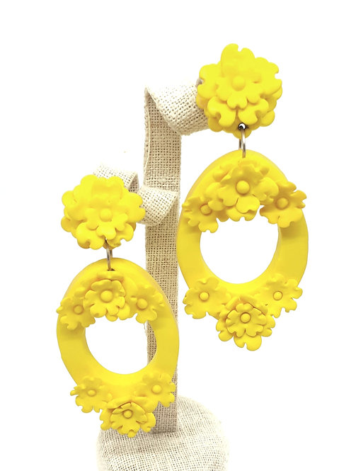 Bright Yellow Daisy Drop Earrings