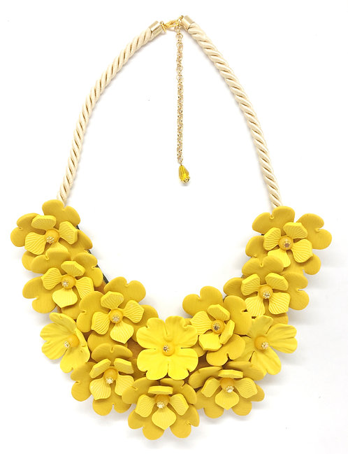 Yellow Flowers Big Necklace on Rope, Felt and Leather