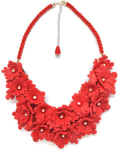 Red big stamement flowers necklace