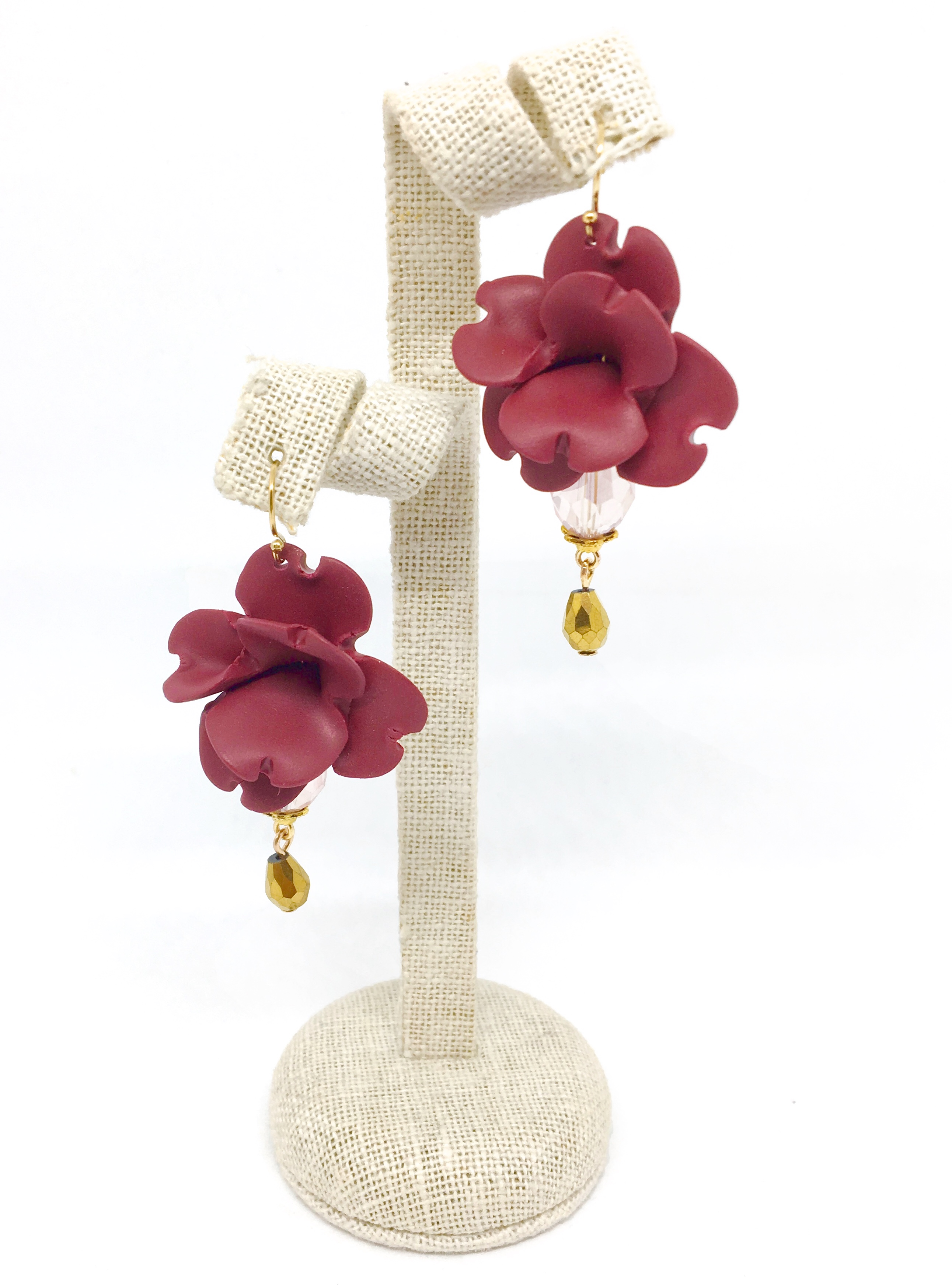 Small flowers earrings, burgundy