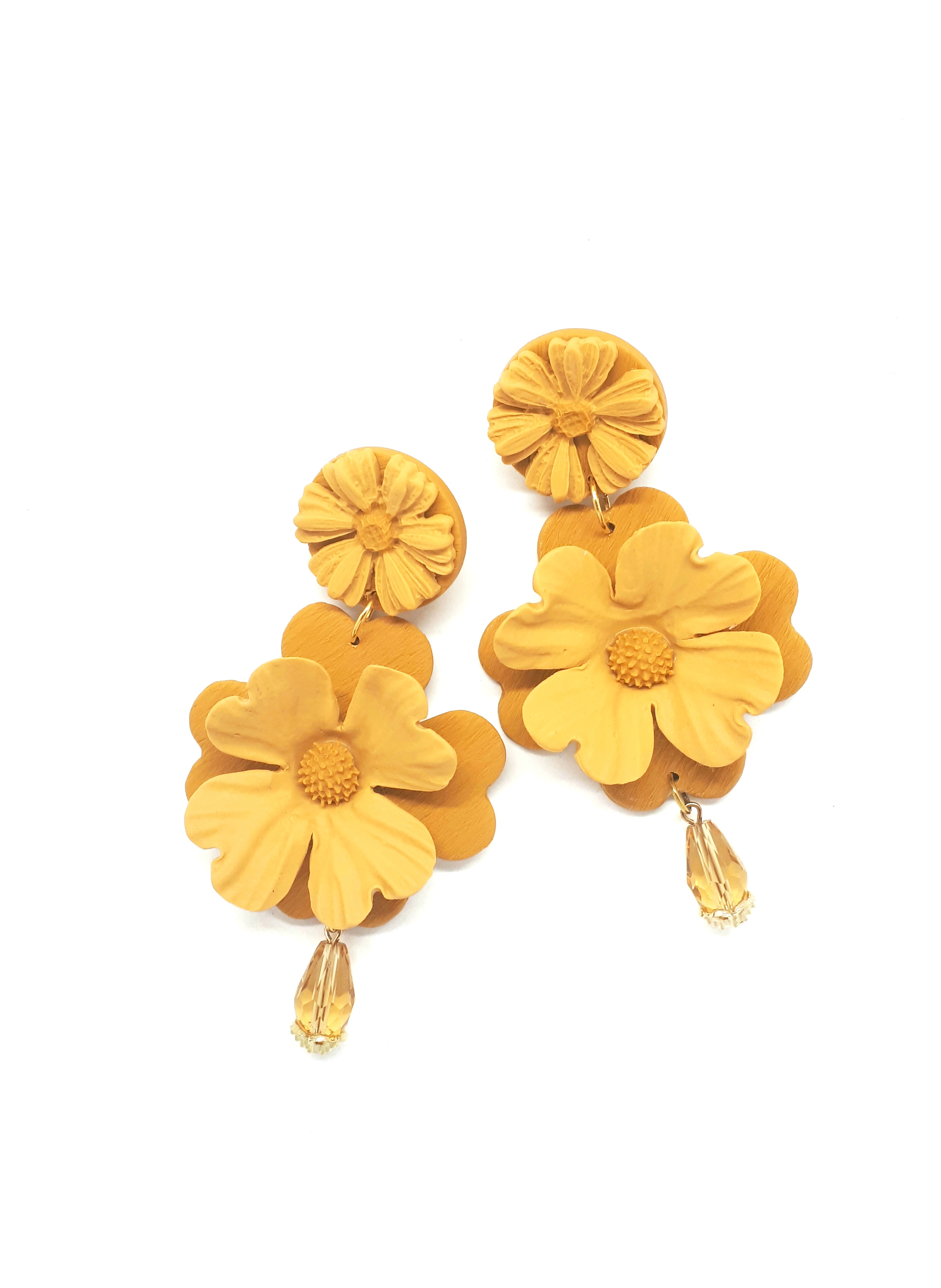 Double flower big earrings
