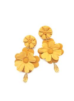 Double flower big earrings