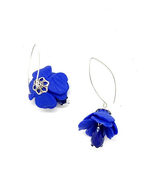 Closed Flowers on a Big Hoop Cobalt Blue Earrings