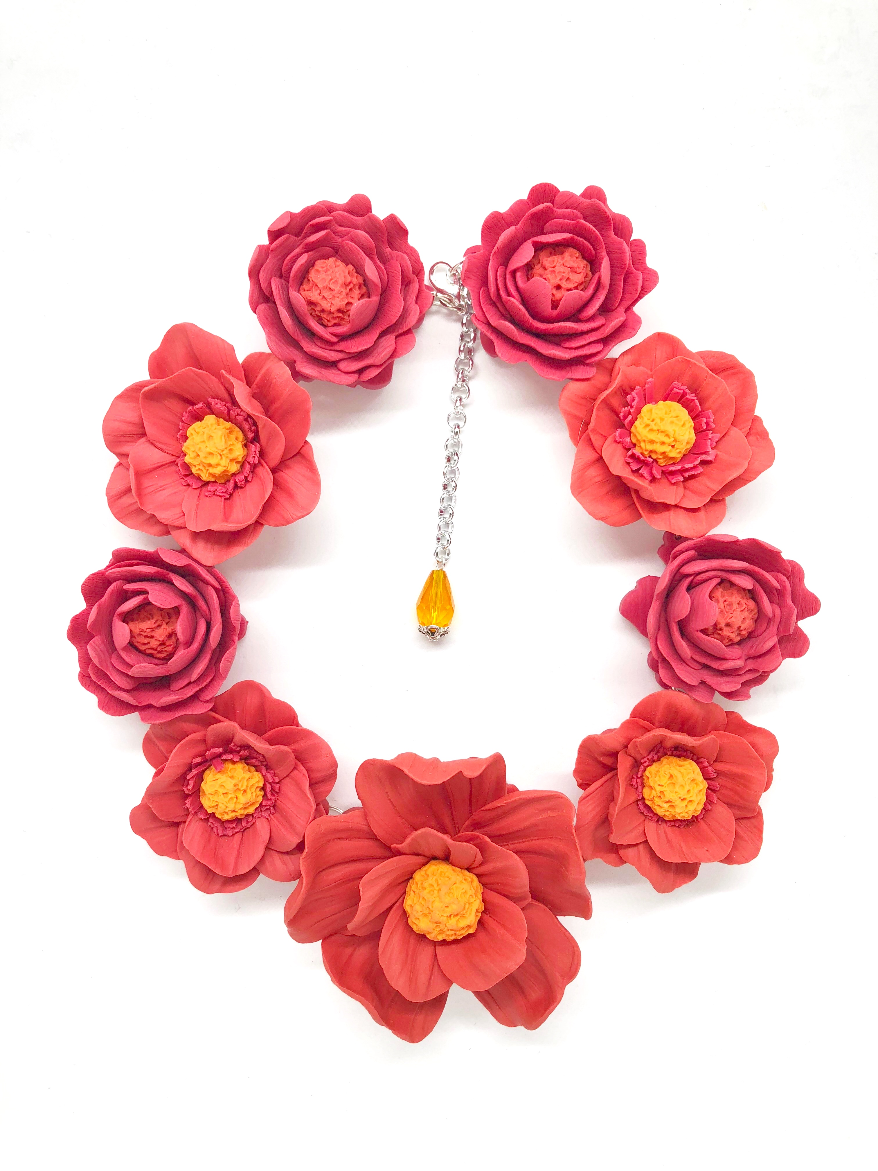 3D big coral flowers necklace