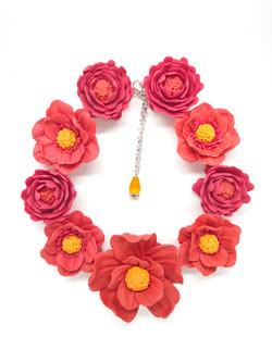 3D big coral flowers necklace
