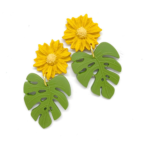 Yellow daisy and palm leaf earrings