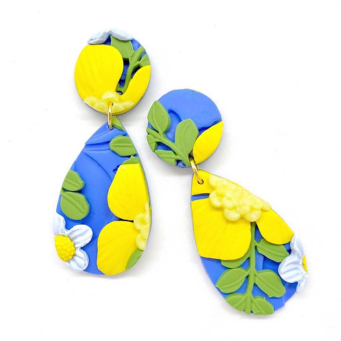 Teardrop Blue and Yellow Flower Pattern Earrings