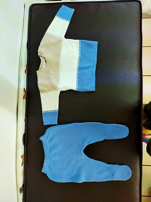 Conjunto 2 piezas tejido azul
