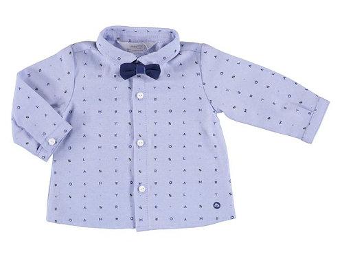 Camisa con moño niño azul