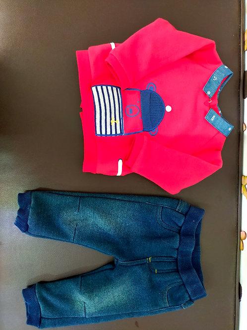 Conjunto de pantalón y playera roja