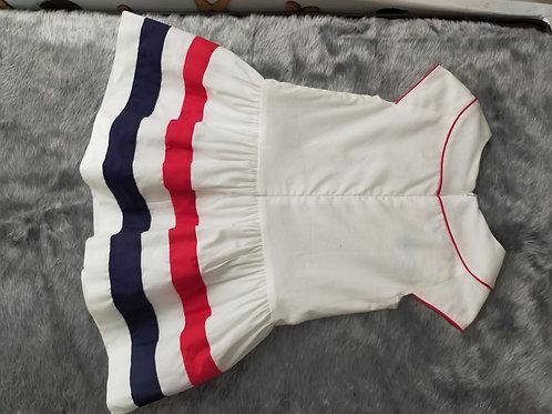 Vestido rojo, blanco y azul para niña Mayoral