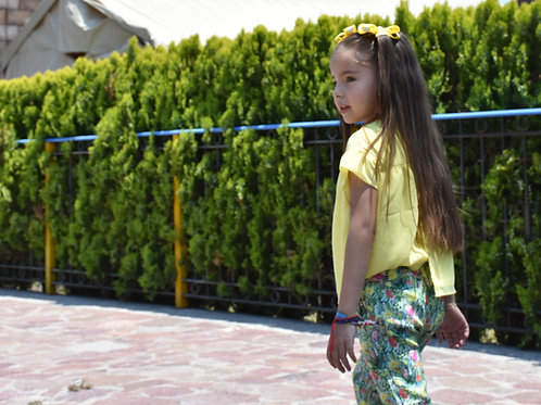 Conjunto pantalón y blusa amarillo/verde