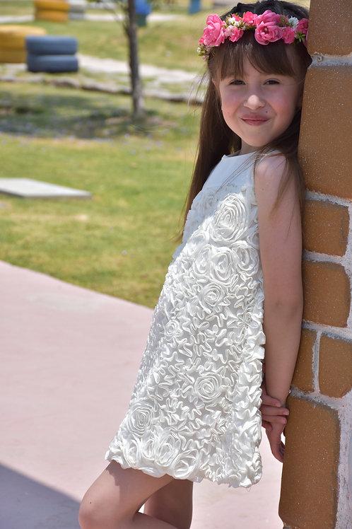 Vestido niña blanco flores