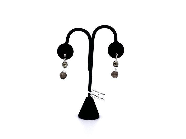 Smokey Quartz and Pyrite Earrings