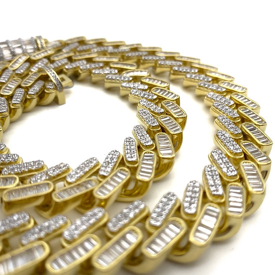 Iced Out 14Karats Gold Plated Silver Baguette Diamond Cuban Link Necklace