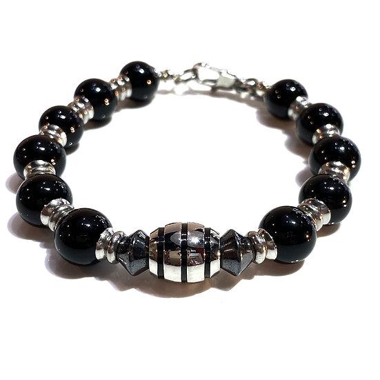 Onyx and Steel Bracelet